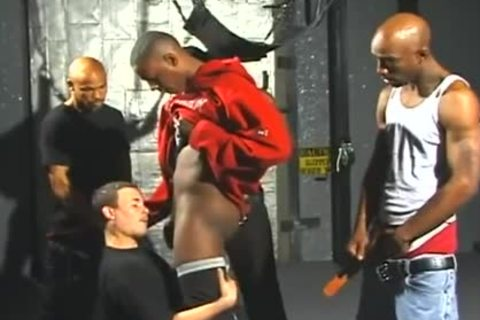 lascivious White guys Opens Wide For Interracial gang sexing enjoyment