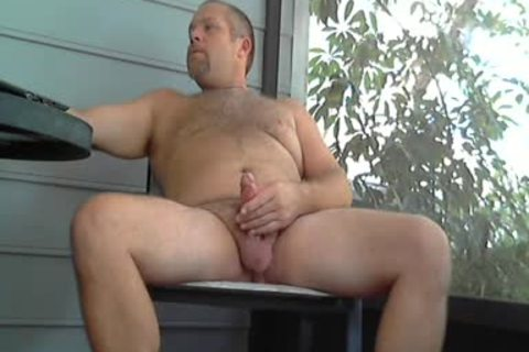 Beer Smoke & wank With cum On Lanai