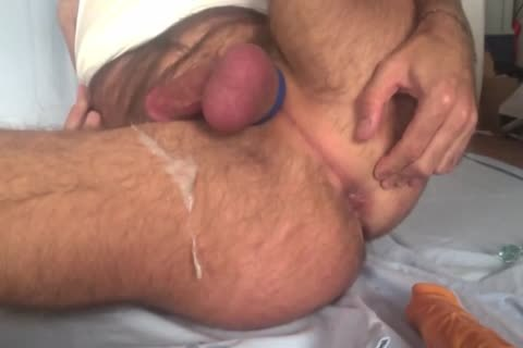 Showing My Freshly hairless Balls And gap while Playing With My ass Beads And 8-inch sex tool. Great sperm discharged All Over My bushy Legs At The En