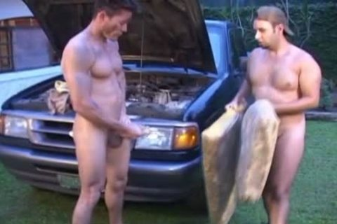 Oiled And naughty homosexual men plow Outside