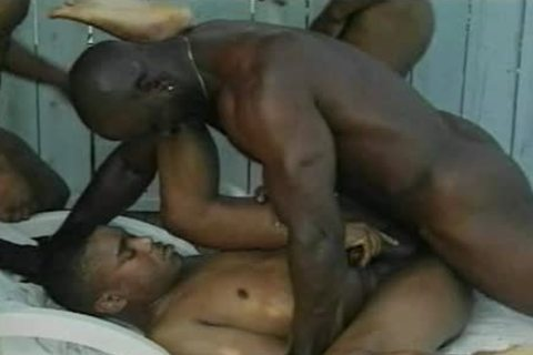 Four black men banging Out Back