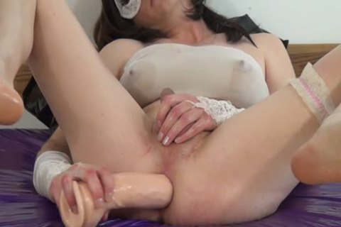 #3-Crossdresser poke Oiled a-hole With monstrous fake penis -butthole, Sissy