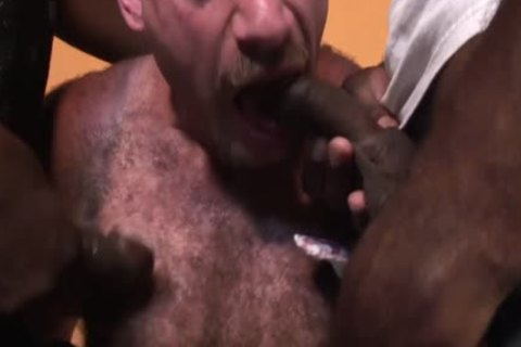 black Thugs Sharing A Middle older White man With Moustache
