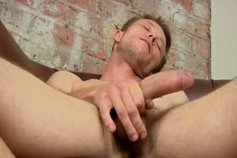 A enjoyable Hunky new gay guy jerking off A Immense beefy 10-Pounder To ball sperm Blast