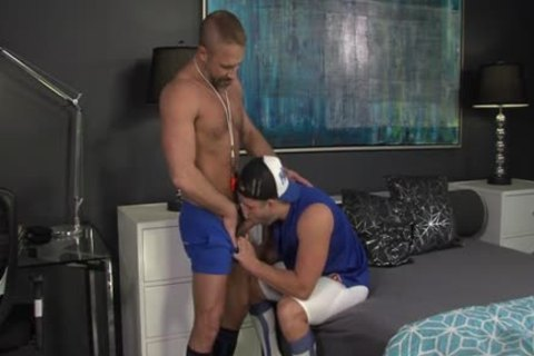 Muscly Juvenile Hung Oversexed homosexual pecker Rides The Dilf coach In His Pooter