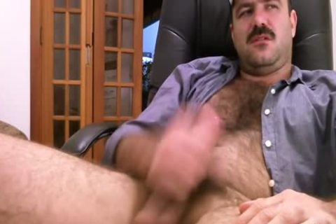 hairy Daddy Strokes chubby penis & Cums