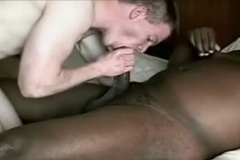 White lad receives poked By chubby darksome