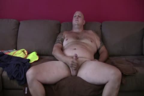 sleazy Tattooed chubby Construction Worker Solo