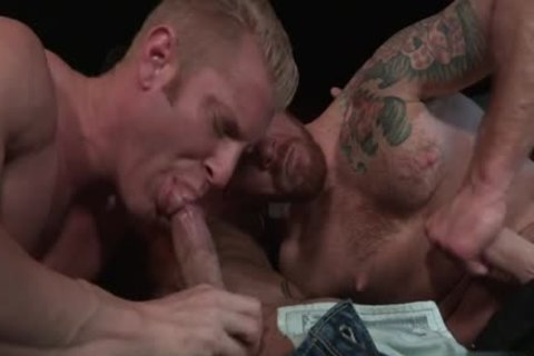 Muscle Bear three-some And ass cumshot