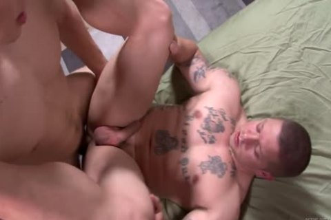 pumped up Army males hammer raw