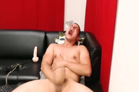 monstrous Dicked Latino chap Cums Hard W vibrator Lodged In wazoo