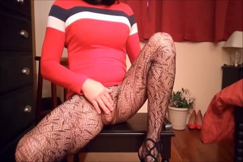 SL4UA Holly Cums Hard In Red costume Patterned stockings