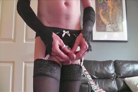 FF And Lacetop stockings Suspenders pants Pose Play & sperm