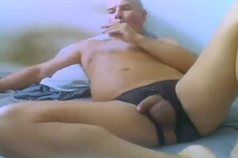 old man Love Wearing sexy underwear, And Ride sex tool