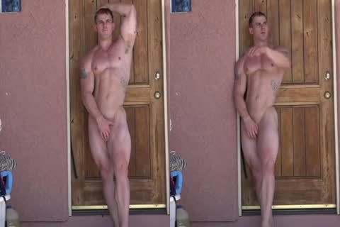 Bodybuilder Posing Outside