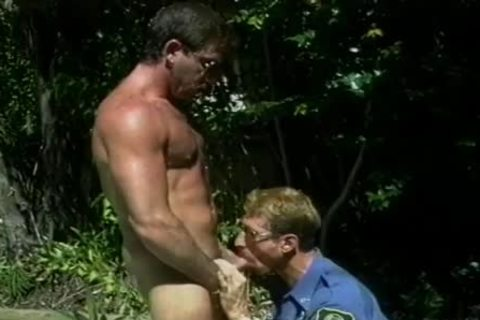 Two tasty Cops get A twink On His Knees To suck 10-Pounder