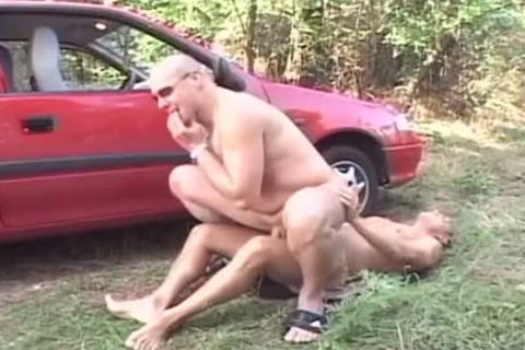 Two lustful studs nail In The Woods In The Back Of His Car