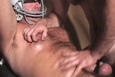 bushy Buff Football coach wanking His penis