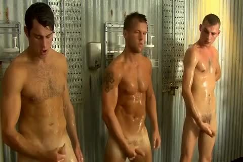 Straight dudes Jerking jointly In Groupshower