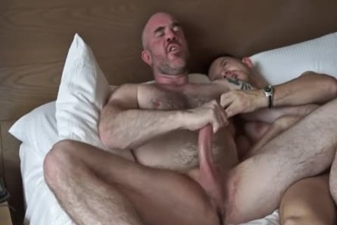 Tattooed bushy Daddy Rides Muscle Stepson In Hotel Suite