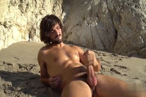 large penises jerking off AT THE BEACH