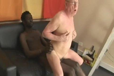 old man sucking & Getting fucked By large dark cock