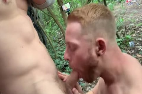Two yummy studs Have Sex In Woods - Third lad Joins In