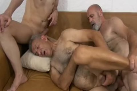 Two Grandpas And A twink In A lusty Date