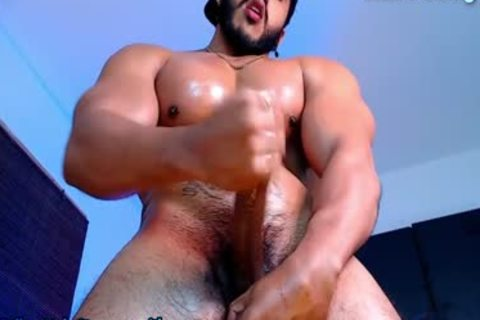 muscular Hunk jerking off His shaggy 10-Pounder And Showing delightsome cum