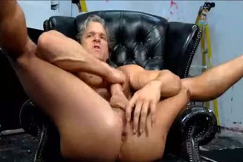 daddy man Pulls It Hard His large weenie And permeates With A fake penis