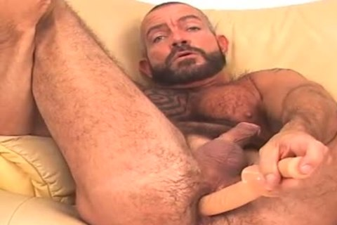 thick and hairy, bearded BEAR works asshole  w/ toy